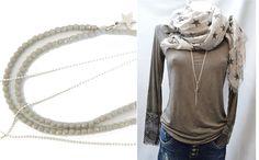 2 x Ketten, Y-Kette, hellgrau Glasperlen & zierliche Metallperlchenkette silber