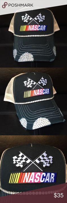 Black NASCAR bling trucker hat Handmade black nascar bling trucker hat. Swarovski crystals and trim. Beige mesh for backing. Perfect for the races! Accessories Hats