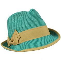 2 Tone Ribbon Bow Beach Summer Fedora Trilby Crusher Sun Cap Hat Turquoise Khaki SK Hat shop. $21.95