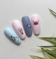 Pig nail art is in a high demand now. The 2019 year is a year of a yellow pig. Pig Nail Art, Pig Nails, Summer Acrylic Nails, Best Acrylic Nails, Disney Acrylic Nails, Nail Swag, Cute Gel Nails, Nail Art Designs Videos, Kawaii Nails