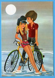 Vintage postcard 70s. Cute romantic mod couple at the beach.