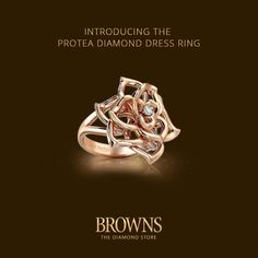 Introducing the Protea Diamond Dress Ring. This is the Protea in full bloom; it is possibly the most intricate piece of jewellery ever made in the whole of South Africa. The flower is brought to life through the shape of each petal as they catch the light from every angle. True to its inspiration, the ring is bold and striking while still keeping its delicate and feminine nature.  www.brownsjewellers.com