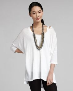 V-Neck Boxy Long Tunic  by Eileen Fisher at Neiman Marcus.