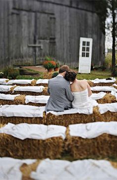 Bales of hay seating ceremony seating arrangement