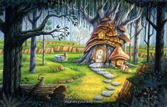 """Home of the Forest Gnome"" © Phil Wilson -watercolor & gouche"