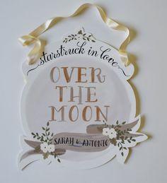 Over the Moon Wedding Sign-Custom Names-Ivory Cream. via Etsy.