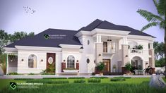 Architectural design of a proposed modern 5 bedroom bungalow with penthouse. Bungalow House Design, Modern House Design, Double Storey House, Traditional Homes, Dream House Plans, House Architecture, Bungalows, Cabins, Apartments
