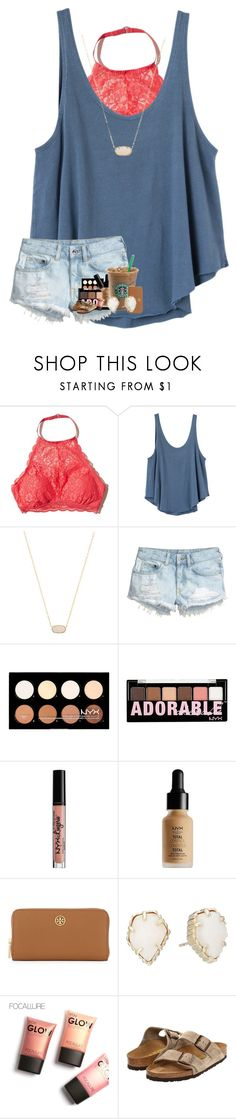 """Day 3 : shopping"" by ajgswim ❤ liked on Polyvore featuring Hollister Co., RVCA, Kendra Scott, H&M, NYX, Tory Burch and Birkenstock"