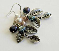 Silver Leaves and Pearl Earrings Dangle Earrings by SaraBernhart, $17.50
