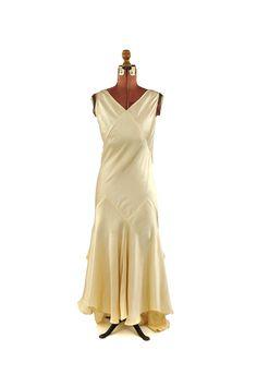 30s Rayon Silk Satin Wedding Dress - front