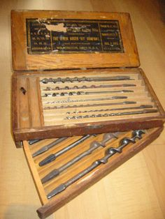 Antique Carpentry Tool Set Box From Irwin Auger Bit – Designer Unique Finds