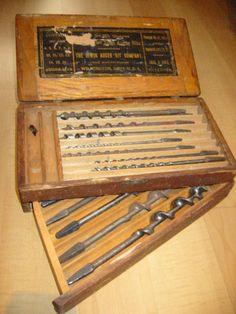Antique Carpentry Tool Set Box From Irwin Auger Bit – Designer Unique Finds