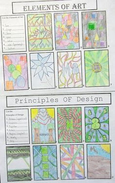 Elements and Principles Of Art Elements And Principles, Elements Of Art, Art Handouts, 6th Grade Art, Art Worksheets, Kunst Poster, Art Curriculum, School Art Projects, Art Lesson Plans