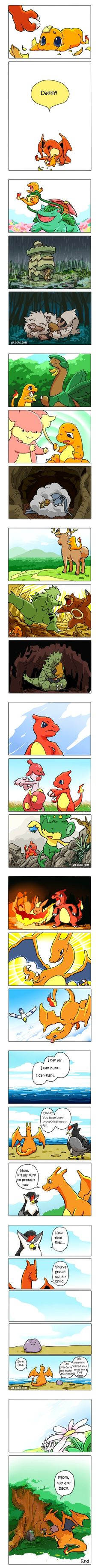 I've never played Pokemon, but this is adorable. A ditto fathered a charmander and used different Pokemon forms to raise it. Pokemon Mew, Pokemon Comics, Charmander, Charizard, Pokemon Stuff, Pokemon Mignon, Pokemon Pictures, Catch Em All, Geek Out