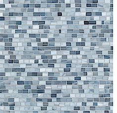 """Walker Zanger Collection: Chelsea Art Glass Artisan Field: French Blue 3/8"""" snapped gloss subtle accent for 6"""" backsplash at sink in extra bath?"""