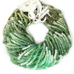 "2 Strands Chrysoprase Gemstone Faceted Rondelle Beads 3.5-4mm Bead 13.5"" Long…"