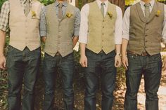 Boys in vests and jeans at Lisa and Z's Forest Wedding at Nestledown in Los Gatos | Sweet Little Photographs