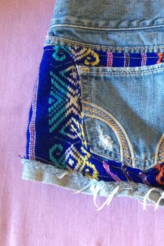 Upcycled size 3 W26 Hollister redesigned shorts with tribal fabric imported from mexico customized boho gypsy shorts aztec on Etsy, $32.00