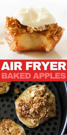 Air Fryer Baked Apples are the perfect quick dessert you need tonight. These cinnamon baked apples are filled with a delicious oat crisp topping. Air Fryer Recipes Appetizers, Air Fryer Recipes Vegetarian, Air Fryer Recipes Breakfast, Air Fryer Dinner Recipes, Air Fryer Oven Recipes, Vegetarian Food, Healthy Recipes, Almond Recipes, Apple Recipes