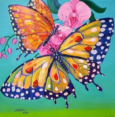 Original Animal Painting by Nguyen Chi Nguyen Orchids Painting, Plant Painting, Spring Painting, Butterfly Painting, Butterfly Art, Butterflies, Small Canvas Paintings, Happy Paintings, Animal Paintings