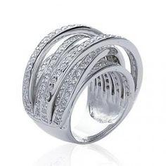 Superbe grosse bague argent massif anneaux sertis d'oxydes de zirconium
