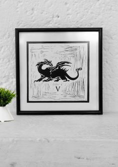 Final Fantasy V inspired Minimalist Mexican rustic art print || Linoleoum Etching