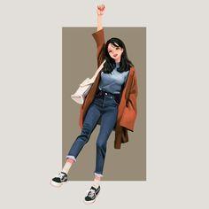Study Drawing By Wonbin Lee Illustration Girl, Character Illustration, Anime Art Girl, Manga Art, Fille Anime Cool, Tmblr Girl, Cover Wattpad, Character Art, Character Design