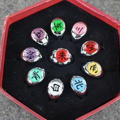 10pcs NARUTO COSPLAY Akatsuki Member Ring Uchiha Itachi