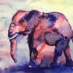 Original water color painting of an Elephant
