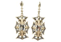 Midnight cross marquise Mother of Pearl/Rose of France and diamond earrings on pointed post.