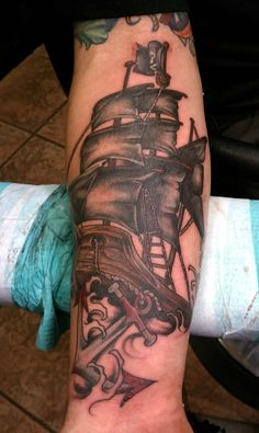 Pirate Ship with Anchor  - Tattoo Artist Amy Ausiello
