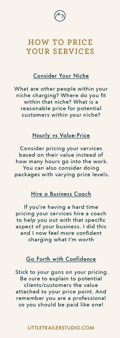 Stumped on how to price your services or how to charge what you're worth? You're not alone. This is one of the most puzzling aspects to many service-based entrepreneurs. In this post I've outlined six tips that'll help you price your services. Click through to read full post!
