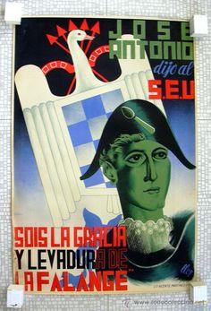 Cartel litográfico Guerra Civil, Jose Antonio y la Falange - Tamaño 100x66 - ver fotos interiores - Foto 1