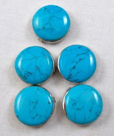 5 Vintage Sterling Silver and Turquoise Button Covers via Etsy