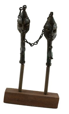 Pair of Yoruba brass edan ogboni staves. Nigeria Mounted on wooden stand included. Age : Early century Free, trackable and insured shipping. Bookends, African, Vintage, Statues, Etsy, Home Decor, Art, Brass, Handmade Gifts