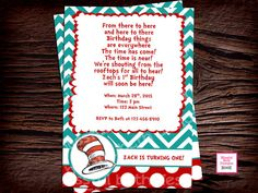 SEUSS BIRTHDAY INVITATION Dr. Seuss Red and by BlissfulBethDesigns, $11.00