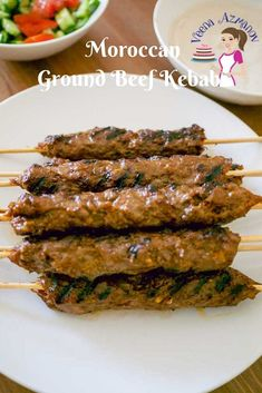 These ground beef kebabs are as easy as Combine the ingredients together, skewers them, and grill them to perfection. Mince beef kebabs cook fairly quickly so these takes barely 5 to 6 minutes on the grill. Beef Kabob Recipes, Minced Beef Recipes, Minced Meat Recipe, Ground Beef Recipes, Grilling Recipes, Cooking Recipes, Ground Beef Kebab Recipe, Turkish Recipes, Salads