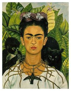 Frida Kahlo - Self-Portrait with Thorn Necklace and Hummingbird  (oil on canvas, 1940)