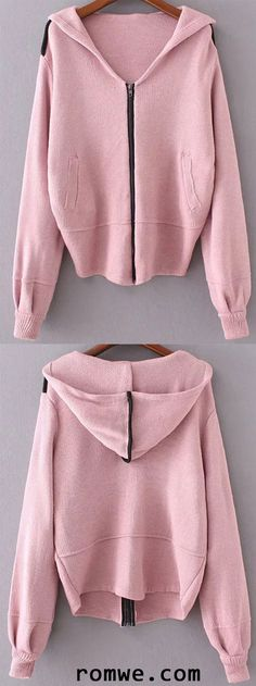Pink Zipper Up Hooded Sweater Coat