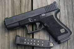 Glock 19, with grip stippling. Functional way to increase your grip efficiency.
