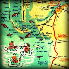 Florida beach map Sanibel Ft Myers VINTAGE VACATION retro photo by VintageBeachMaps,