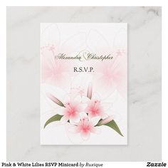 Shop Pink & White Lilies RSVP Minicard Enclosure Card created by Ruxique. Wedding Rsvp, Wedding Cards, Wedding Color Schemes, Wedding Colors, Lilly Flower, White Lilies, Text Color, Summer Wedding, Paper Texture