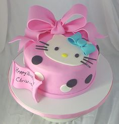 Awesome cake design ideas featuring the uber cute Hello Kitty. Super cute one tier pink Hello Kitty cake with a big pink bow. The Cake . Fancy Cakes, Cute Cakes, Pretty Cakes, Beautiful Cakes, Torta Hello Kitty, Hello Kitty Birthday Cake, Hello Kitty Themes, Pink Hello Kitty, Birthday Cake Pictures