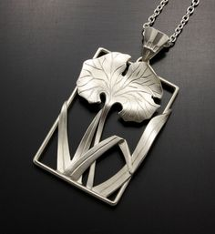 Silver pendant of leaves in Japanese style by KAZNESQ on Etsy, $290.00