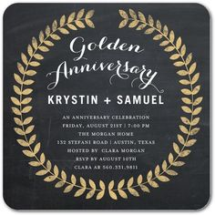 Golden Love  Signature White Anniversary Party Invitations