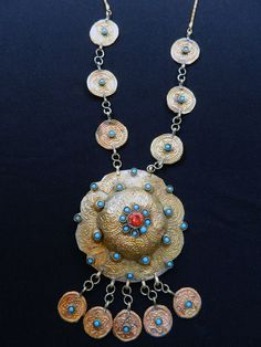 Vintage Turkmen Yomud Style Tribal Necklace Red Glass by UberKuchi, $24.50