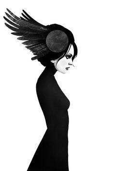 Černobílý grafický plakát s profilem dívky s peřím ve vlasech od umělce Rubena Irelanda