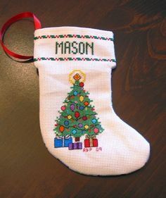 4X6 Personalized counted cross stitch Christmas Stocking by crafting4carterskids, All Proceeds go to help fight Childhood Obesity and will be donated to Carter's Kids (Building Playgounds Across America) $20.00 donation