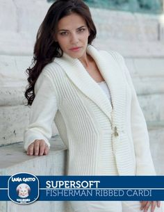 SuperSoft - Fisherman Ribbed Cardi from  by Lana Gatto at KnittingFever.com