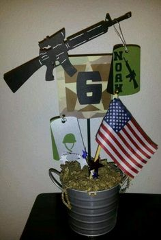 Military toy soldier in sand and us flag center piece for for Army decoration ideas